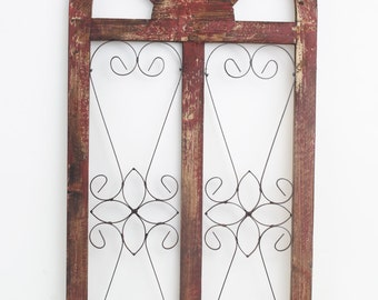 Venice Architectural Window -Wall-Primitive-Rustic-Garden-Patio-20x42-Turquoise-Red -White