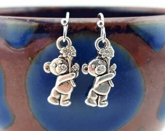 Teddybear earrings - Teddy bear earrings - silver teddybear - silver bear earrings - birthday bear earrings - handmade earrings - teddybears