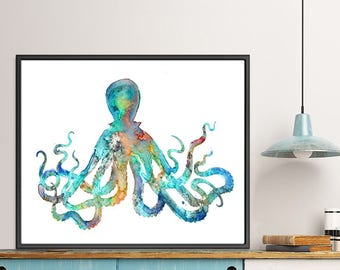 Ocean art Octopus Art Print Watercolor Octopus Painting Nautical Art, See Life Art, Coastal Decor  - F132