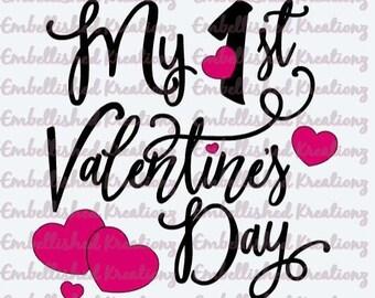 Valentine's Day/'My 1st Valentine's Day' with Hearts Vinyl Decal/Valentine's Day Decor/Valentine's DIY/Valentine Photos/Sign/Baby Girl