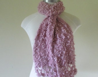 Handmade soft nobbly wool scarf. Vintage knitted in the early 90s, pink frothy kiwi wool, 100percent soft , nice to wear close to your neck.