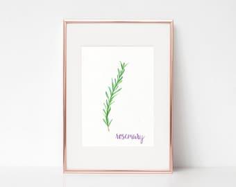 Rosemary Print - Watercolor Rosemary Print - Watercolor Herb Print - Botanic Herb Prints - Rosemary Herb Print - Kitchen Herb Print