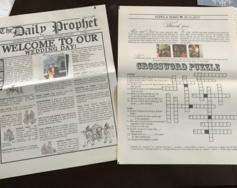 custom 2 page wedding newspaper program - printed vintage newspaper
