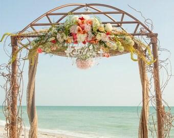 Wedding Drapes - Burlap Ceremony Arch - Beach Wedding Arch - Burlap Wedding Arch - Barn Wedding Arch Decor - Burlap Arch Decor