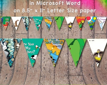 """Children's Book Themed Banner for Birthday Parties or Baby Showers on Letter Sized 8.5"""" x 11"""" paper in Microsoft Word High Resolution"""