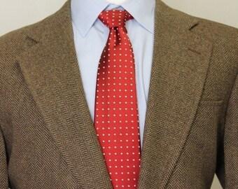 Vintage 42S Joseph Jos A Bank Brown Herringbone Tweed 100% Wool Sport Coat Blazer SE6