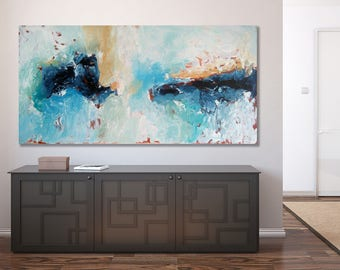 LARGE ORIGINAL Abstract Painting, Blue Abstract Art, Acrylic Painting on Canvas Art Xl large Canvas Art Custom Extra Large Painting Wall Art