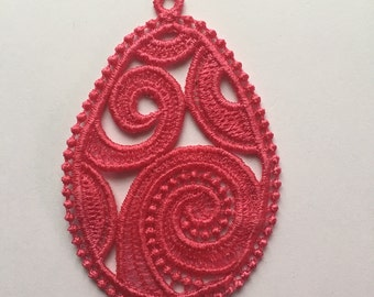 Easter Egg Dark Pink Embroidered Free Standing Lace