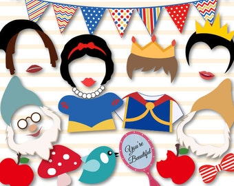 Instant Download Snow White Princess Photobooth Props, Printable Snow White Photo Booth Props, Snow White Party Printable, 7 Dwarves, 0400