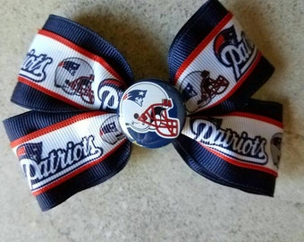 NEW ENGLAND PATRIOTS Hair Bow - 4 inch boutique style with decorative button center