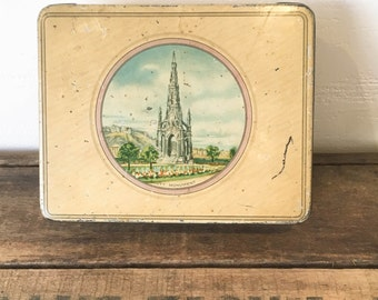 Vintage McVitie and Price Biscuit Tin with Picture of Scott Monument, 1930's