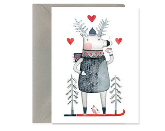 SALE!!! A2 cards box of 6 // Christmas cards boxed set// Happy Holdays postcard // Deer // greeting card