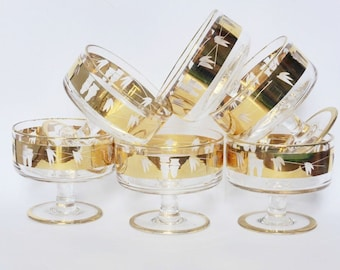 Vintage Gold Bamboo Glass Dessert Cups ~ Set of 6 ~ Mid Century ~ Retro Kitchen ~ Glassware ~ Tiki Bar ~ Kitsch ~ Vintage Wedding