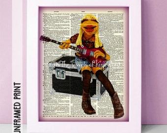 Teacher Appreciation Gift - Electric Mayhem Band Poster - Guitar Teacher Gift - Muppets Dictionary Page Art - Music Classroom Art - Bohemian
