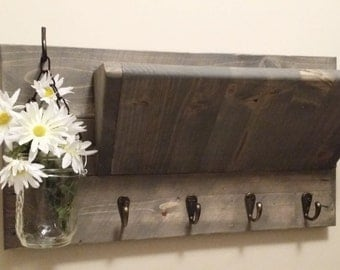 Rustic Decor, Mail Holder,Home Decor, Wood  Mail Organizer, Key Holder, Key rack,House warming, Hostess gift. Home and Living, Gift for her