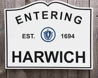 Custom Hand-Painted Wood Massachusetts Town Sign to celebrate your family or hometown.