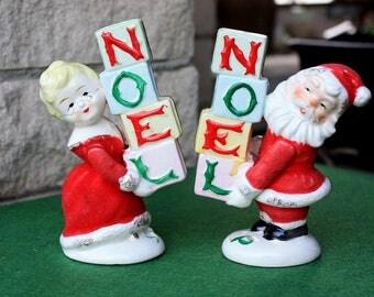 Vintage Napco Ceramic Noel Santa Salt & Pepper Shakers Figurines Japan Christmas Kitchen Decorations Collectibles 50's Era Mid Century