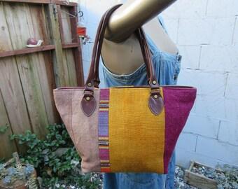 70s 80s Kilim and Leather Tote Bag Purse Handbag Satchel Vintage 1970s 1980s Ethnic Flair Festival Chic Hippie Boho