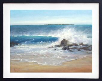 Art print beach, Beach painting, Beach decor, Watercolor, Ocean print, Wall art, Art print, Giclee, Coastal decor, Oil painting