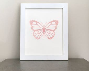 Printable Art, Watercolor, Butterfly, Pink, Wall Art, Nursery Decor, Baby Gift, New Mom Gift, Girls Room, Baby Girl, Nursery Print, Pastel
