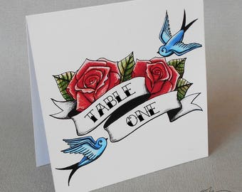 Tattoo Style Table Numbers Rockabilly Wedding Swallows and Roses Decoration Party Place Setting
