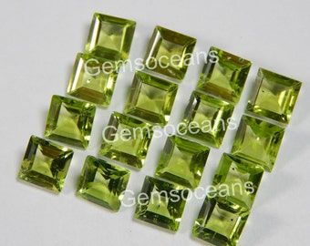 25 Pieces Lot Peridot Square Faceted Cut Loose Gemstone