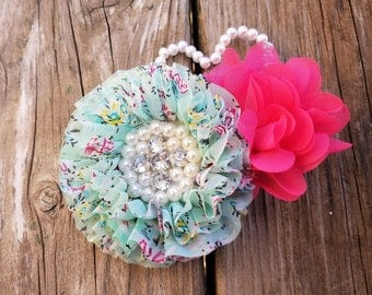 Pink Print Flower Hairclip, Hair Accessory, Girls Accessory, Baby Headband, Flower Headband, Spring Flower, Baby Hairclip, Spring Clip