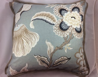 """SCHUMACHER """"Hot House Flowers"""" in Mineral-Pillow Cover with butterfly corners"""