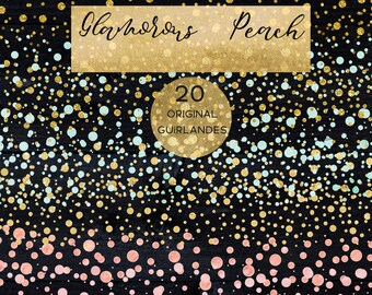 Glitter guirlandes.  Clipart clipart.Blush pink, peach and mint green, gold glitter  palette  Rustic Wedding invitations.