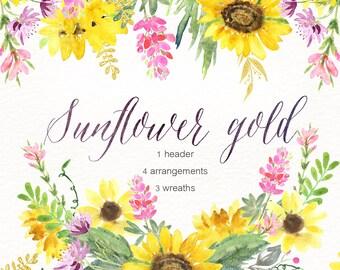 Sunflower gold watercolour clipart, hand drawn. Wreaths, header, arrangements . Rustic wedding, yellow flowers invitations, pink lupin.