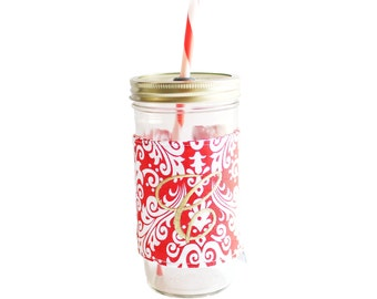 Red Damask Mason Jar Tumbler, Monogram Mason Jar Cup, Gifts for Her, Unique Gifts, Gifts Under 25, Monogram Gifts, Personalized Gifts