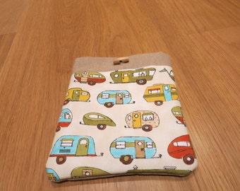 SALE! 1950s Caravans. E Reader case.  Hand Made. Padded . Designer print fabric.
