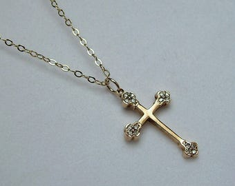 Trefoil Diamond Gold Cross And Gold Chain * Diamond Cross Necklace * Diamond Gold Cross * Diamond Cross Necklace * Gold Cross Necklace