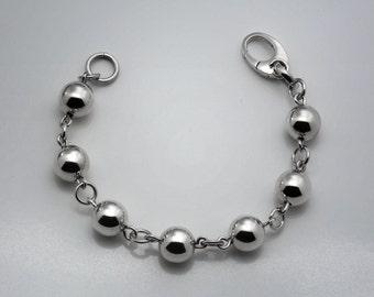Sterling Silver 12mm Bead Link Bracelet