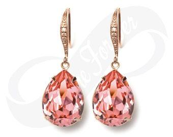 Bridesmaid Earrings Peach Rose Earrings Peach RoseGold Earrings Jewelry Bridesmaid Jewelry Bridal Jewelry Wedding Earrings Bridesmaid Gift