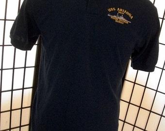 Vintage U.S.S. Arizona BB39 Pearl Harbor men's polo shirt by Stedman Hanes large l