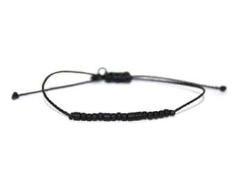 "BREATHE // The Original Matte Black Seed Bead ""Morse Code"" Nylon Cord Bracelet - Simple, Breathe Bracelet, Breathe Morse Code Bracelet"