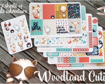 Woodland Cuties Weekly Planner Kit - Vertical Planner Stickers - Forest Animal Stickers - Folk Planner Stickers
