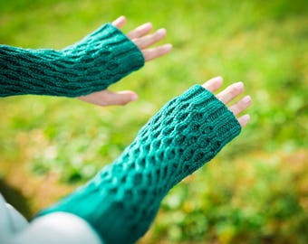 Hand Knit Honeycomb Gauntlet Fingerless Mittens in Sweet Georgia Colorway Jade