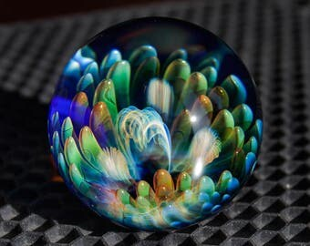 "FREE SHIPPING 1.66"" Handmade Marble by ~Ethan Lesch~  Borosilicate, Boro, Art glass, MIB"