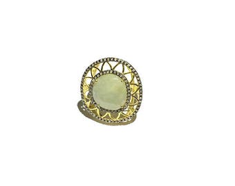 Natural 6.38 ct rose cut diamond / sapphire gemstone gold plated fashion/party ring.
