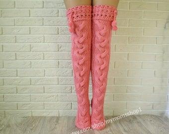 Pink color knit women socks. Thigh high socks. Hand knit Pink long stockings. Warm high socks over the knee socks. Women socks. Long socks