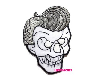 Skull Head - Elvis Hairstyle - Ghost White Color Halloween New Sew / Iron On Patch Embroidered Applique Size 5.5cm.x7.7cm.