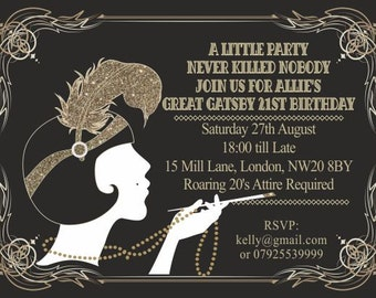 Great Gatsby Invitations Templates - Premium Invitation Template Design by 2 Feathers Tipi