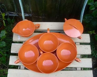 Vintage 1960's Pumpkin Orange Melamine Coffee Set Cups,tray,sugar creamer