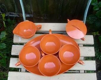 Vintage 1960's Pumpkin Orange Melamine Coffee Set Cups,tray,sugar creamer