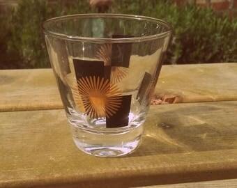 Vintage 1950's large Mid Century Atomic starburst shot glass American Barware