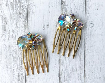 Art Deco Hair Combs/ Vintage Rhinestone Hair Combs/ Iridescent Rhinestone Hair Comb/ Aurora Borealis Hair Comb/ Gold Hair Comb