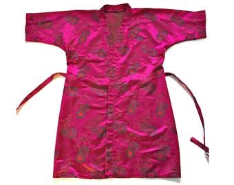 Vintage Magenta Pink Silky Kimono Robe