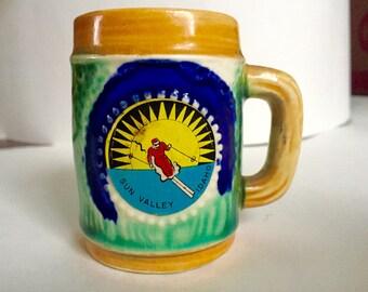 Souvenir mug stein vintage Sun Valley Idaho ceramic skier alpine